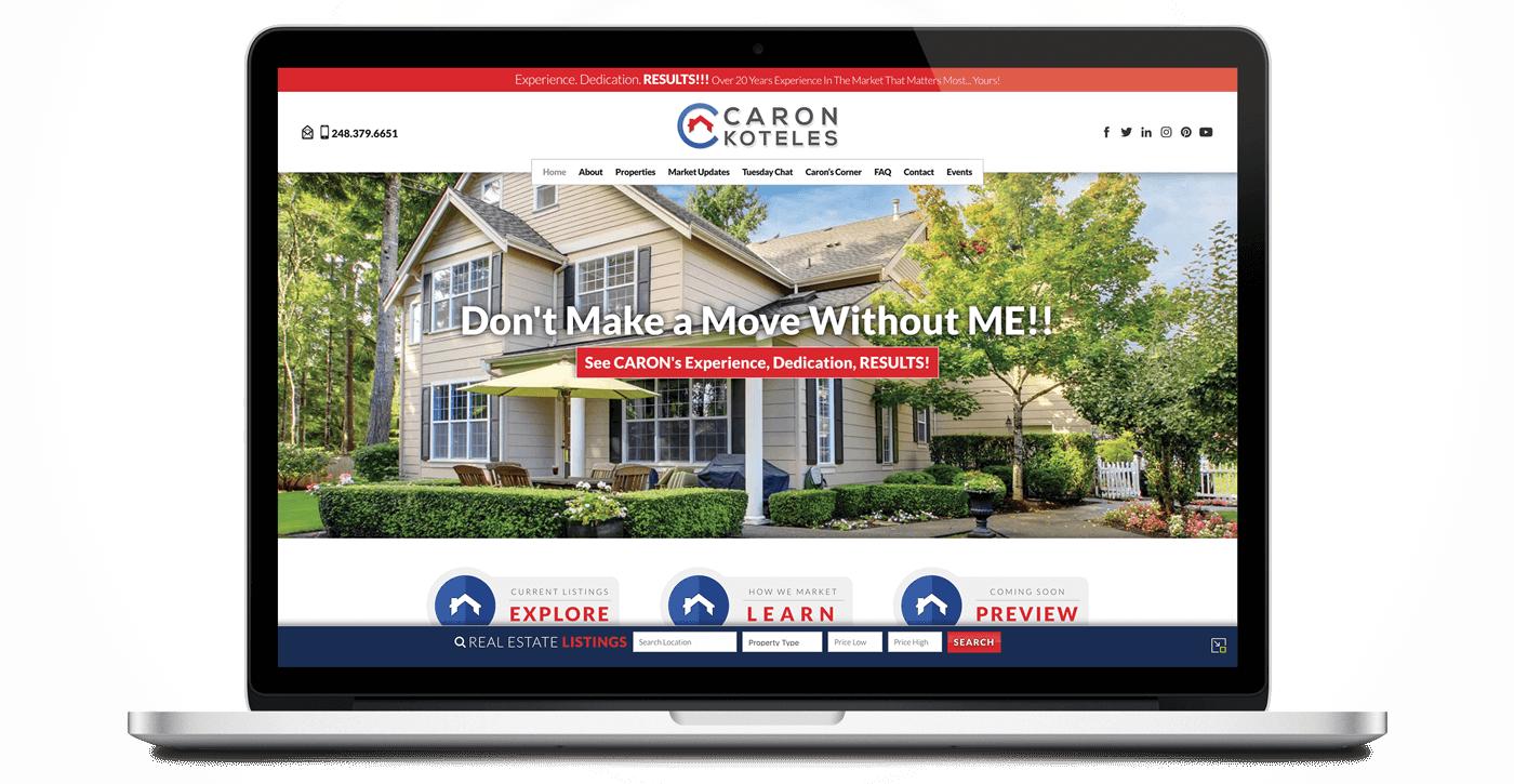 laptop view of caron koteles website