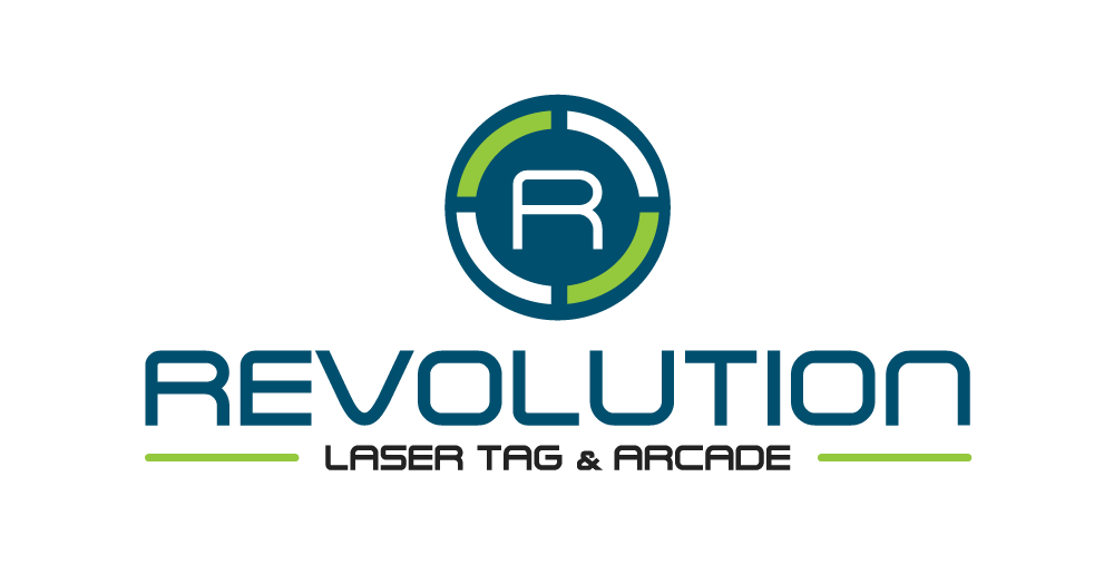 revolution laser tag and arcade logo by drive creative