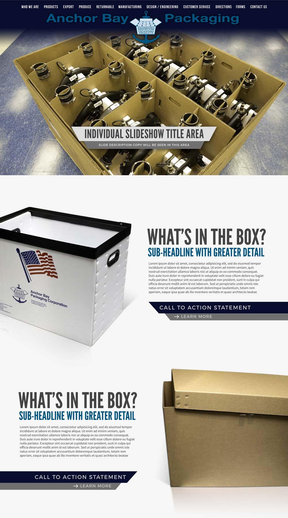 anchor bay website design mockup
