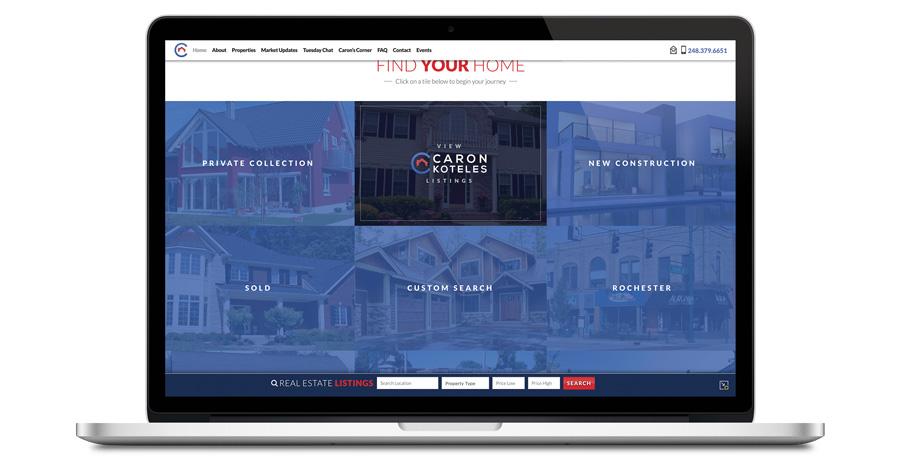 desktop view of homepage listings