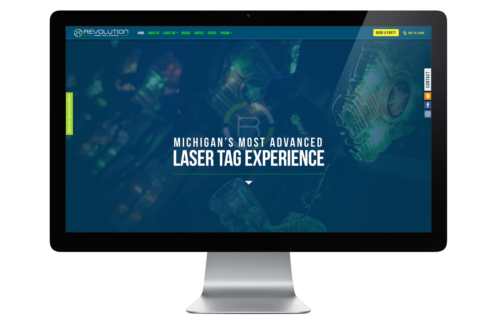 revolution laser tag homepage by drive creative