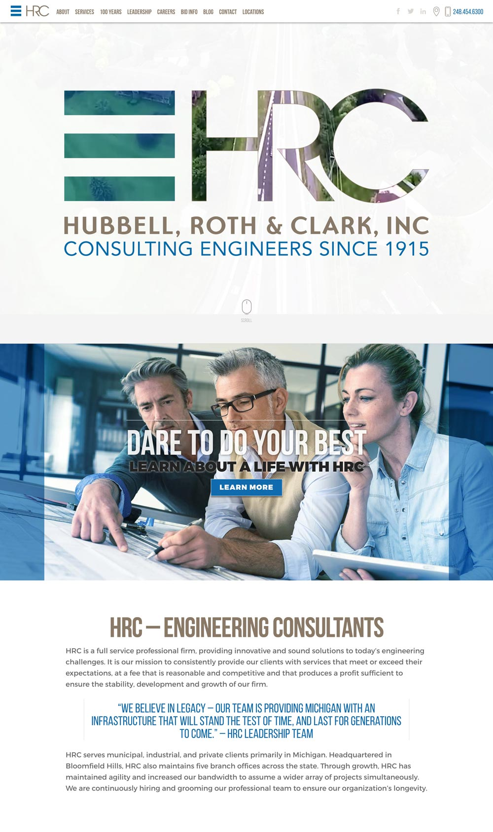hubbell, roth and clark website homepage