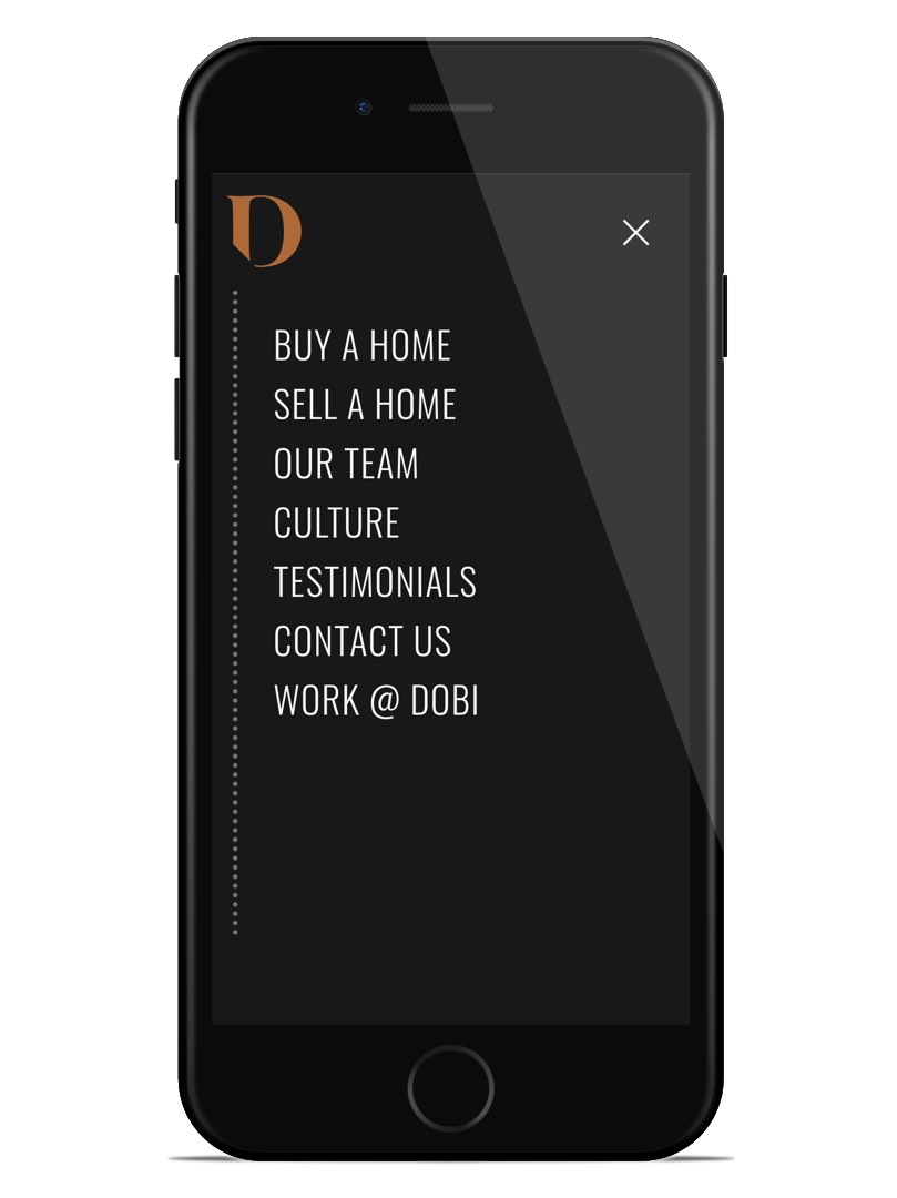 dobi website mobile navigation