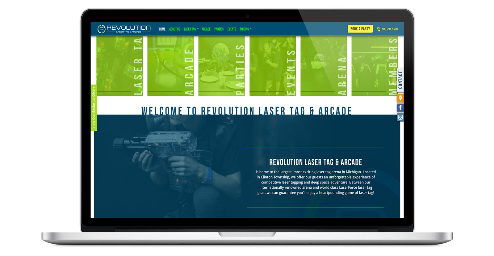 revolution laser tag website homepage image