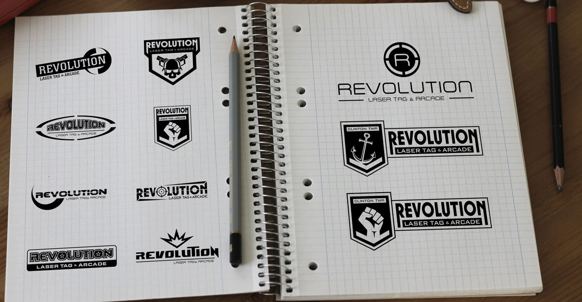 logo concepts for revolution laser tag