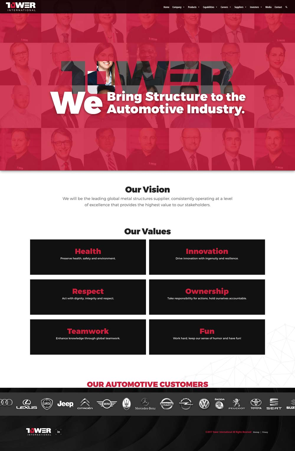 tower international website values page